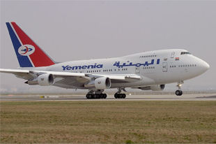 Yemenia ariways airplane taking off from tarmac